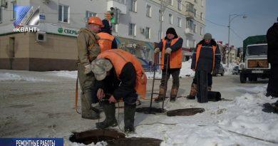 Ведётся ремонт коллектора на пересечении ул. Весенняя – пр. Строителей